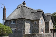 Flint and thatch cottage. Bognor. Sussex. England Royalty Free Stock Images