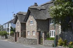 Flint and thatch cottage. Bognor. Sussex. England Royalty Free Stock Photos