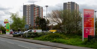 Asda and Sainsbury`s neighbouring supermarkets in Flint Stock Photo