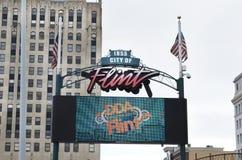 Flinta Michigan centrumtecken Royaltyfri Bild