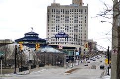 Flinta Michigan: Flint Vehicle City Sign Royaltyfri Foto