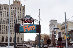 Flinta Michigan: Nöd- vattenfördelning Royaltyfria Bilder