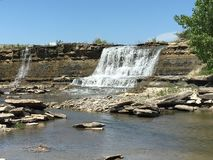 Flinthills waterfall. Waterfall in the beautiful Flinthills in Butler County Kansas Royalty Free Stock Images
