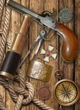 Flintlock Pistol, Spyglass, Compass Stock Images