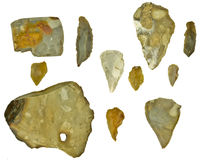 Flintstones. Stone age flint silex stones isolated Stock Photography