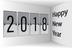 Flip Board Happy New Year 2018 3D Illustrazione di Stock
