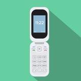 Flip Cellphone symbol Vektorillustration av mobila enheten Plan stildesign med lång skugga stock illustrationer