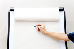 Flip chart. Hand writing on flip chart royalty free stock images