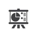 Flip Chart Board con il vettore dell'icona del diagramma a torta, segno piano riempito, pittogramma solido isolato su bianco Immagini Stock Libere da Diritti