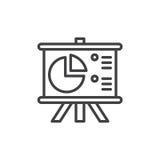 Flip Chart Board con la linea di diagramma a torta icona, segno di vettore del profilo, pittogramma lineare di stile isolato su b Immagine Stock Libera da Diritti