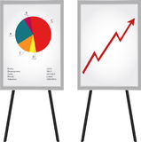 Flip-chart with data. Flip charts with graphs Royalty Free Stock Image