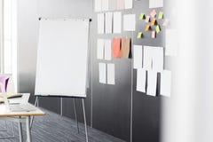 Flip-Chart durch klebriges Briefpapier auf Wand im Büro stockfotografie