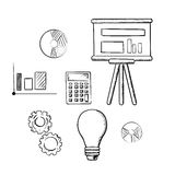 Flip chart, graphs, calculator, idea and gears. Flip chart with graphs, pie charts, bar graph, calculator, idea light bulb and gears sketch icons. For business Royalty Free Stock Photo