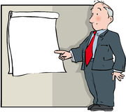 Flip chart presentation. Man in suit with blank Flip chart Royalty Free Stock Image