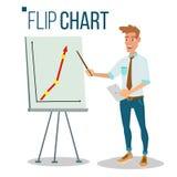 Flip Chart Seminar Concept Vector Hombre que muestra la presentación Ejemplo aislado historieta plana Gráfico de la información d Fotografía de archivo