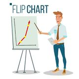 Flip Chart Seminar Concept Vector Mann, der Darstellung zeigt Flache Karikatur lokalisierte Illustration Geschäfts-Informations-G lizenzfreie abbildung
