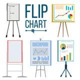 Flip Chart Set Vector Kontor Whiteboard Olika typer Presentation seminariumtecken Information om affär Isolerat framlänges vektor illustrationer