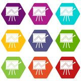 Flip chart with statistics icon set color hexahedron Royalty Free Stock Images