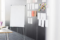 Flip chart by sticky notepapers on wall in office Stock Photography