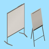 Flip chart whiteboard isometric vector. Easel isometric sign icon. Empty whiteboard magnetic board . Office Whiteboard on Tripod blank canvas Stock Photography