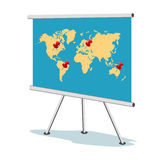 Flip chart, world map with points, business concept, template, banner Stock Images