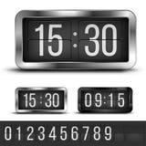 Flip clock. Analog flip clocks silver and blacks retro designs with numbers template, vector illustration stock illustration