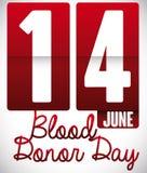 Flip Clock avec la date de rappel pour le jour de donneur de sang du monde, illustration de vecteur Photographie stock