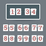 Flip clock in flat style with all flipping numbers. Stock Photos