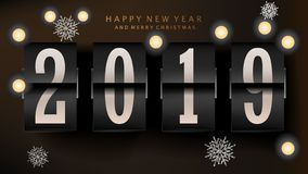 Flip clock 2019 New Year counter for greeting card, banner, placard or poster. Vector illustration stock illustration
