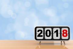 Flip Clock retro com sinal do ano 2018 novo rendição 3d Imagens de Stock Royalty Free