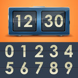 Flip clock. Vector illustration of flip clock table on orange background Stock Photography
