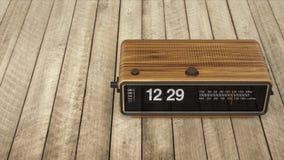 Flip clock. Vintage flip clock on rough planking stock illustration