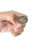 Flip the coin. Man ready to flip Thai 10 Baht coin on white background stock image