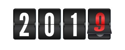 Flip countdown timer with changing numbers of year. Happy new year. Countdown timer. Mechanical scoreboard of counter of. Elapsed time. Vector template for royalty free illustration