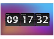 Flip Countdown timer template. Analog Clock counter design. Opening soon flip clock timer. Countdown clock isolated on background. Vector set of numbers for stock illustration