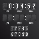 Flip Countdown Timer Vector Blanc noir analogue de minuterie de Digital de tableau indicateur Heures, minutes, secondes Illustrat Photographie stock