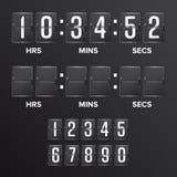 Flip Countdown Timer Vector Blanc noir analogue de minuterie de Digital de tableau indicateur Heures, minutes, secondes Illustrat Illustration Libre de Droits