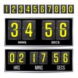Flip Countdown Timer Vector Flip Scoreboard Digital Timer Template noir Heures, minutes, secondes D'isolement sur le blanc Images libres de droits