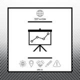 Flip-diagram projektionsskärm med en graf vektor illustrationer