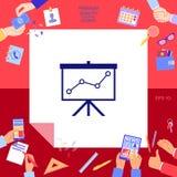 Flip-diagram projektionsskärm med en graf stock illustrationer