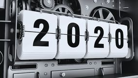Flip digits, year numbers 2020. Changeover mechanism. 3d illustration Royalty Free Stock Images