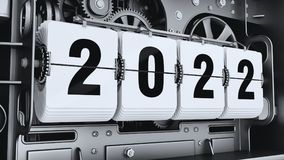 Flip digits, year numbers 2022. Changeover mechanism. 3d illustration Stock Photos