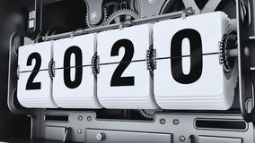 Flip digits, year numbers 2020. Changeover mechanism. 3d illustration Royalty Free Stock Image