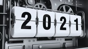 Flip digits, year numbers 2021. Changeover mechanism. 3d illustration Royalty Free Stock Photos