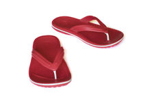 Flip-flop. Pair of red flip-flop isolated on a white background Stock Photos
