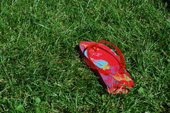 Flip flop. A red flip flop on a grass Royalty Free Stock Photography