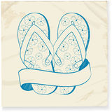 Flip flop and banner doodle Royalty Free Stock Image