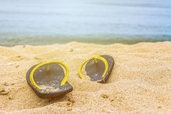 Flip-flop on the beach Stock Photo