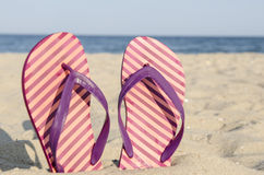 Flip-flop on the beach Royalty Free Stock Image