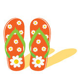 Flip flop for beach with flower illustration Royalty Free Stock Images